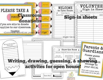 Back To School/Open House Activities and Printables from The Classroom Creative  on TeachersNotebook.com -  (25 pages)  - Open House and Back To School Activities with sign-in sheets and classroom supply donation requests.