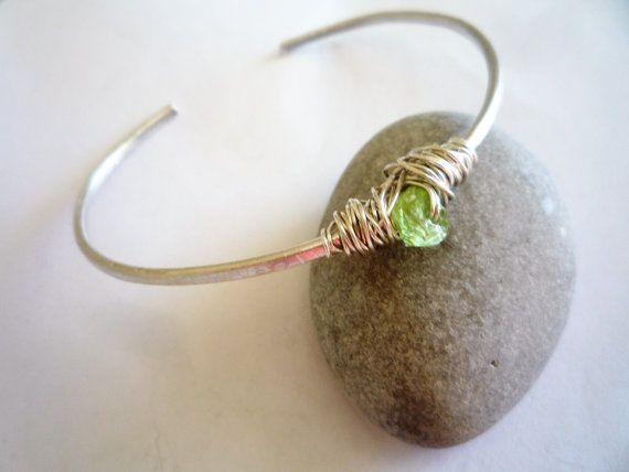 Cuff bracelet Sterling silver cuff bracelet Peridot  by Iridonousa