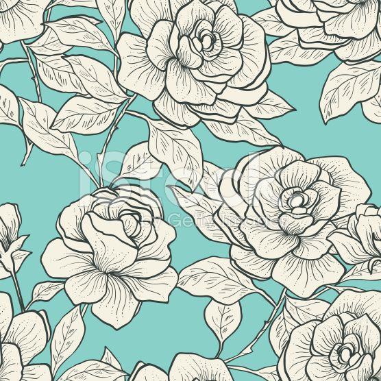 Seamless pattern with vintage roses. Vector illustration royalty-free stock vector art