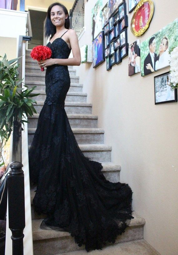 Black Wedding Dresses For Alternative Brides Misfitwedding Com Lace Wedding Dress With Sleeves Boho Wedding Dress Lace Black Wedding Dresses