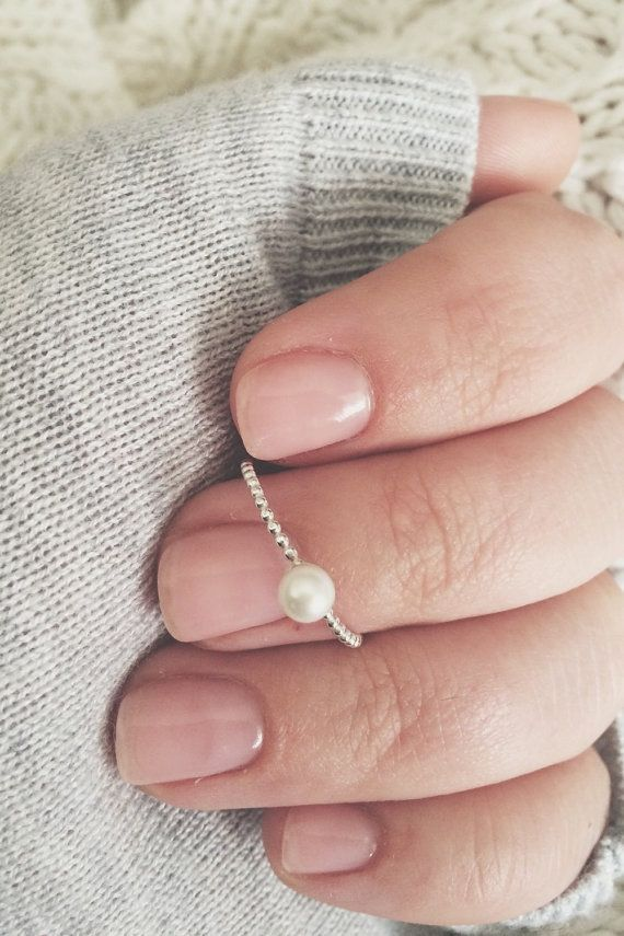 Pearl ring, stacker, stacking ring, pearl ring, freshwater pearl, sterling silver pearl ring, thin beaded band, 4mm pearl ring