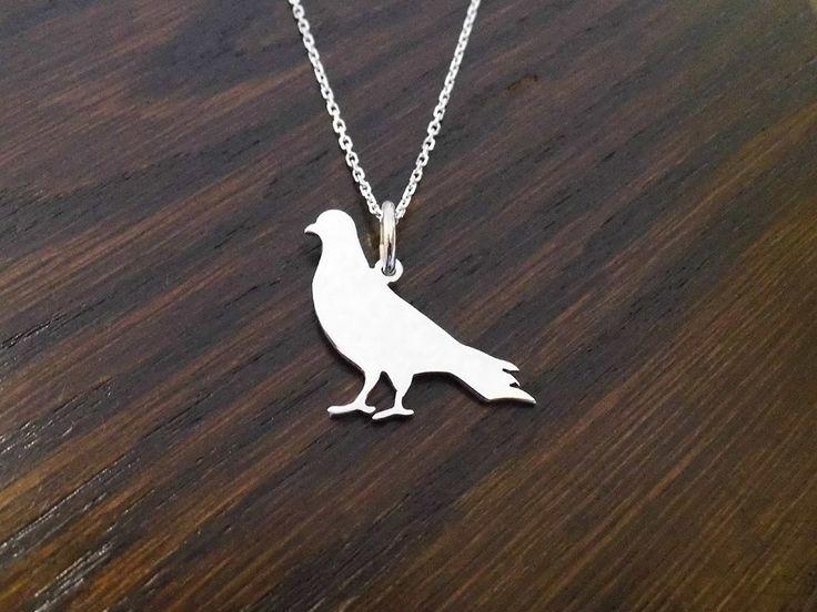 sterling silver Pigeon pendant 25mm x 20mm handmade 925, £19.99