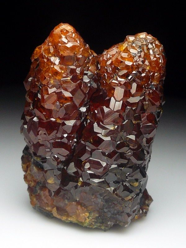 Garnet - Red / Brown Covering Smoky Quartz - Minerals, Crystals, Gemstones, Natural Formations
