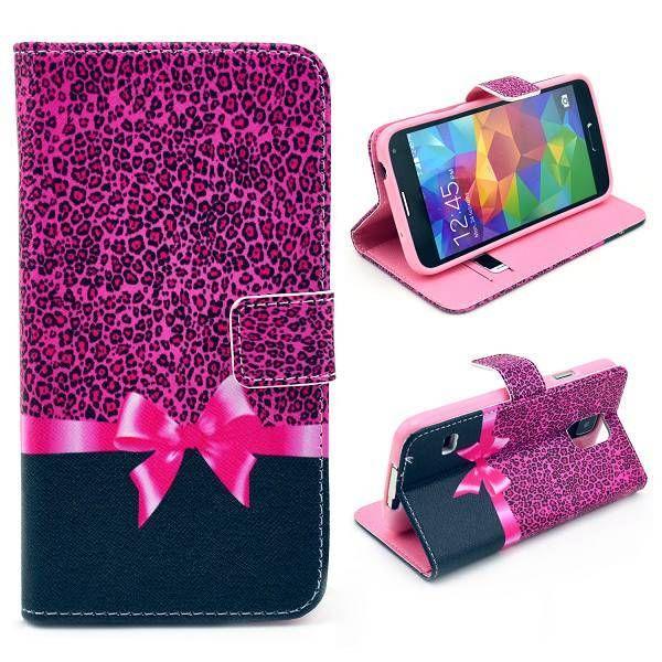 Bookcase hoesje met roze strik voor Samsung Galaxy S5