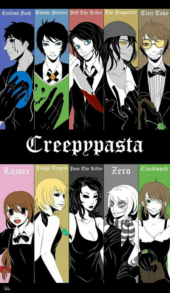 Eyeless Jack, Bloody Painter, Jeff the Killer, The Puppeteer, Ticci Toby, Lazari, Judge Angels, Jane the Killer, Zero, Clockwork, text, Creepypasta characters, suits, outfits; Creepypasta
