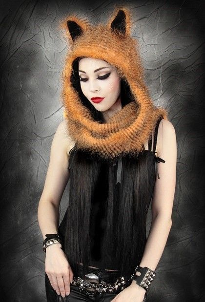 Restyle Soft Ginger Fur & Fleece Fox Kitty Cat Ears Gothic Hat & Pocket Scarf #Restyle #HatScarf