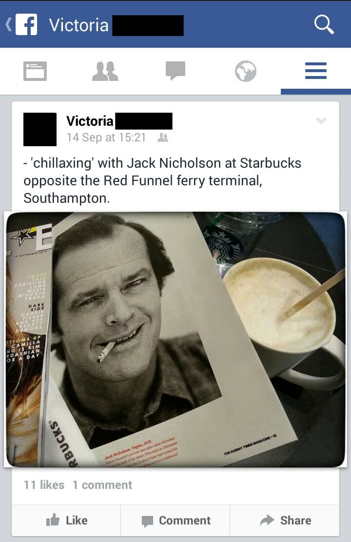 031 - 14 September 2014, 15:21, Jack Nicholson, Starbucks, opposite the Red Funnel ferry terminal, Southampton (http://www.starbucks.co.uk/)