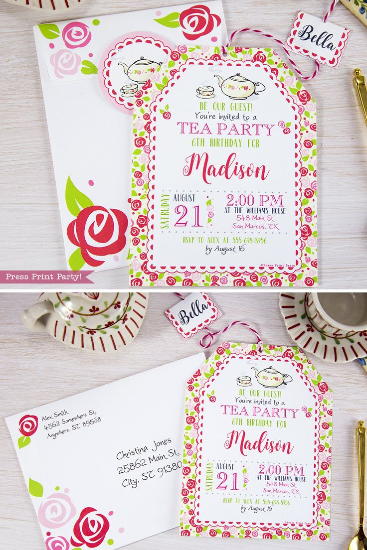 awesome printable tea party invitations invitation template download