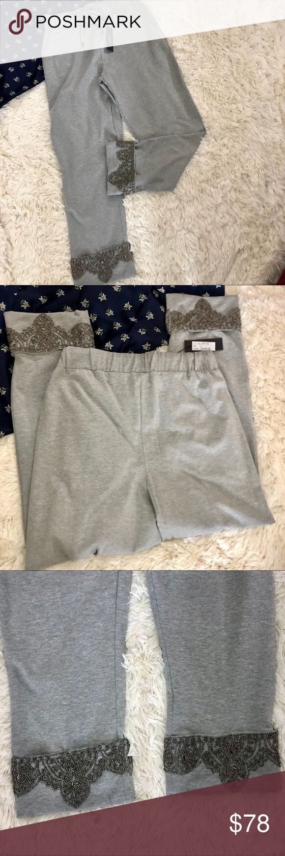 "NWT Love Sam heathered grey Embellished Pants S NWT Anthropologie love Sam Grey Embellished tie waist pant Size Small. Definitely an oversized fit. Flat slant front pockets. Ultra soft, 28"" inseam. Would be perfect with wedge heels and an oversized cardigan! Reasonable offers always accepted. Anthropologie Pants"