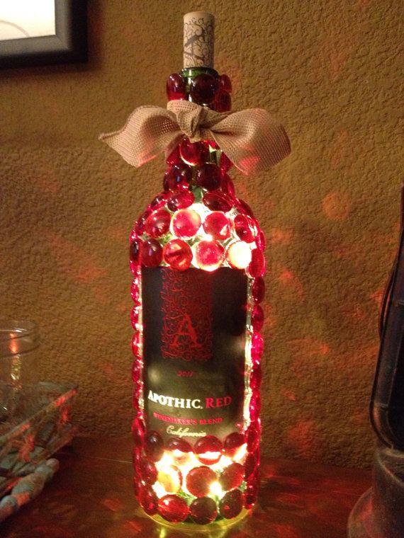 Red wine bottle light by AshleyColeDesigns on Etsy