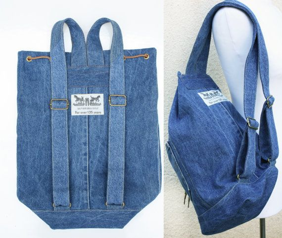 denim backpack upcycled blue jeans drawstring от UpcycledDenimShop