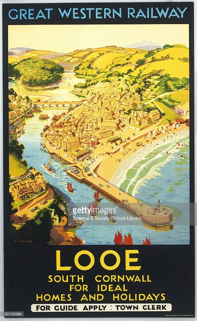 Poster produced for the Great Western Railway showing a view of the small town of Looe ...17