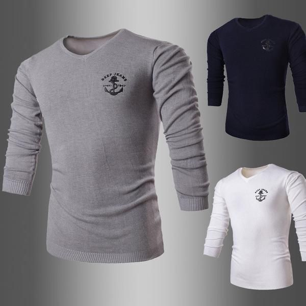 Men's Business Solid Long Sleeve V-Neck Collar Sweaters - 3 Colors-Men's Tops-Wickydeez