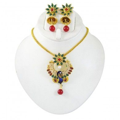 Peacock Design Goldtone Pendant Necklace Set Jewelry Kundan Polki Jewellery