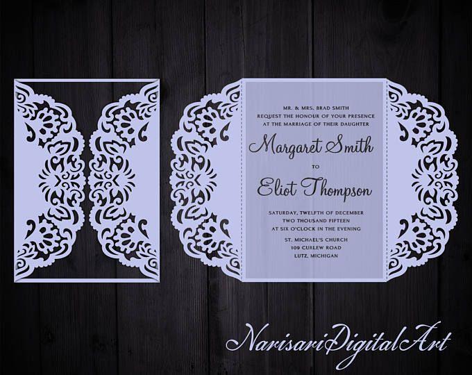 Doblez de la puerta de invitación de boda corte patrón plantilla de tarjeta, invitación de quinceañera, SVG DXF archivo de corte Silhouette Cameo, Cricut