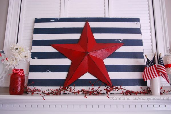 stars and stripes sign - gives me an idea for that Americana star I recently purchased at Goodwill