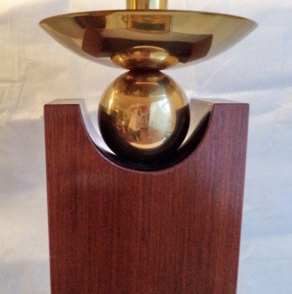 Mid Century Modern atomic/spheric/space age/Onyx brass wood lamp Eames Kartell Panton era light for sale on etsy by MushkaVintage3