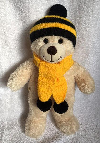 Teddykleidung - Mütze   Schal für den BVB Fan Build-a-Bear Teddy - ein Designerstück von allegria55 bei DaWanda