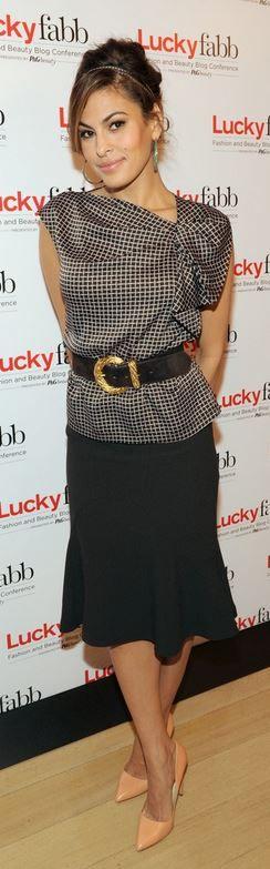 Eva Mendes: Shirt and skirt – New York & Co. with Eva Mendes  Shoes – Rupert Sanderson