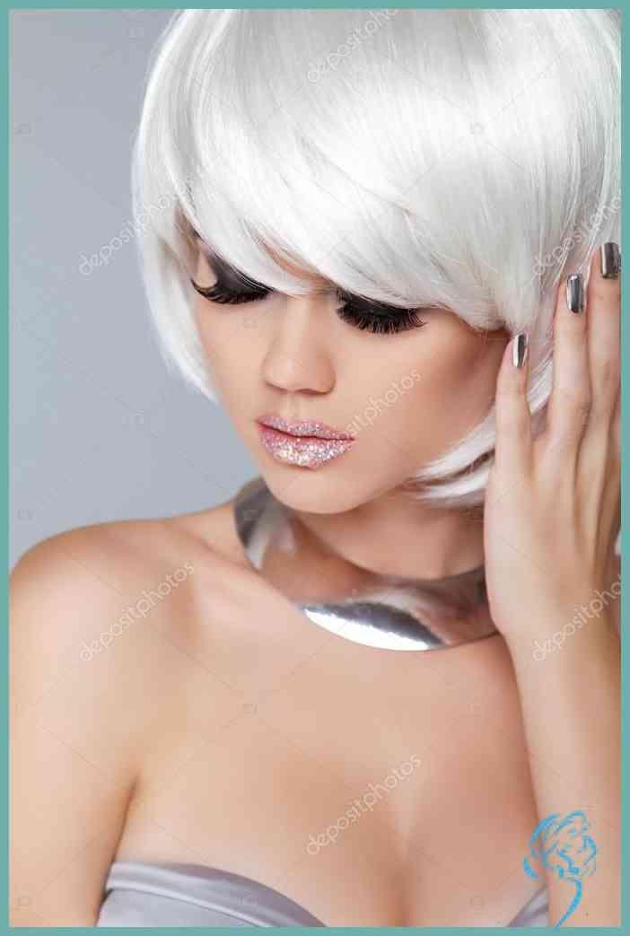Mode Blondes Mädchen. Frau Portrait schönheit. weiße kurze Haare … | Damen Frisuren