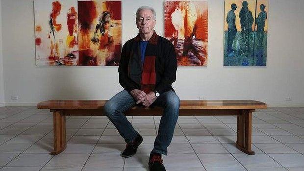Robert Boynes in front of some of his large-scale 'multi-process' creations of evocative figures in urban environments on show at Beaver Galleries in Deakin. Photo: Jeffrey Chan Read more: http://www.canberratimes.com.au/entertainment/robert-boynes-eternal-observer-turns-to-human-race-20140509-38120.html#ixzz31H30UnaL