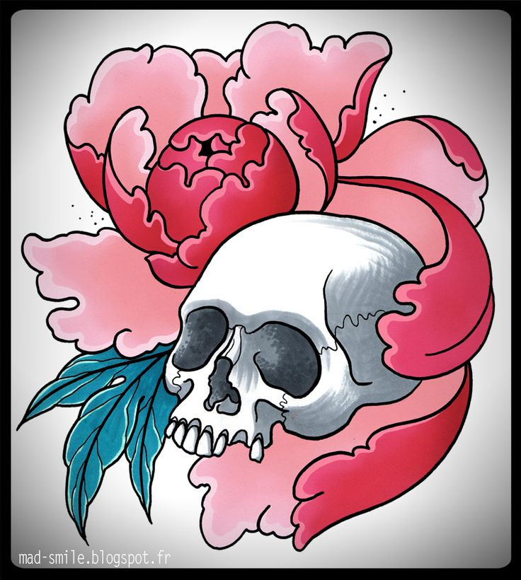 Pink peony and skull tattoo design  http://mad-smile.blogspot.fr/