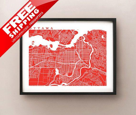 Ottawa Map Art - Canada Wall Art - Ontario - Rideau Canal, Parliament Hill -  Carleton University, University of Ottawa, Algonquin College