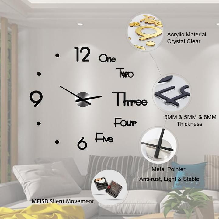 Diy Large Wall Clock In 2020 Wall Clock Sticker Diy Clock Wall