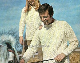 Ladies / mens aran sweater knitting pattern pdf womens aran jumper crew neck Vintage 34-40 inch chest aran worsted 10ply instant download
