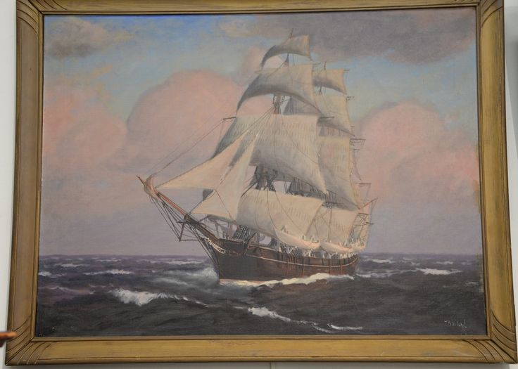 "T. BAILEY  Sailing Ship at Sunset  oil on canvas  signed lower right T. Bailey  19th/20th century  24"" x 32"""