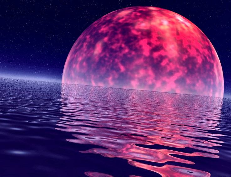 Moon over ocean | The red moon rose up over the sea and left below a shimmering deep ...