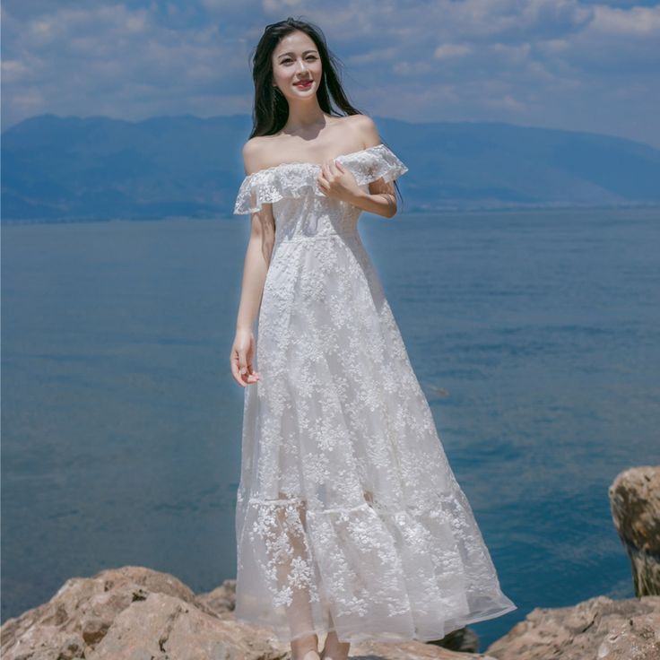 2017 White Collar Lace Flounces Halter Hook Flower Hollow Lace Dress Sexy Beach Style Sweet Long Fashion Dress