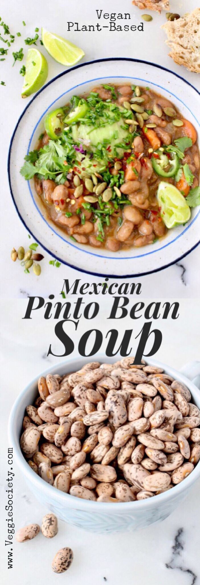 Vegan Pinto Bean Soup / Stew Recipe With Mexican Seasonings, Avocado and Lime. | VeggieSociety.com #vegan #wfpb #soup