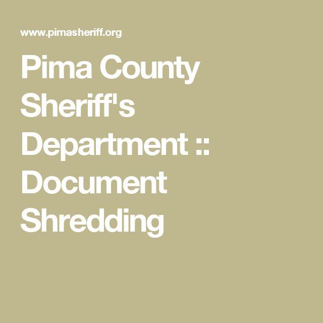 Pima County Sheriff's Department :: Document Shredding