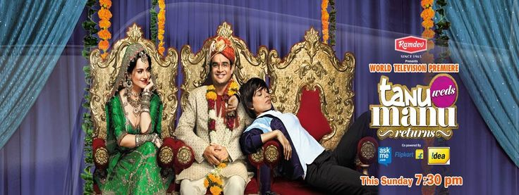 """DON'T MISS to watch RAMDEV presents the most entertaining film of the year """"Tanu Weds Manu Returns"""" on Zee TV, Sunday 11th Oct, 7.30pm onwards.  Make Your this Sunday evening FULL OF FUN and enjoy this comedy drama and romance all together with your family and friends."""