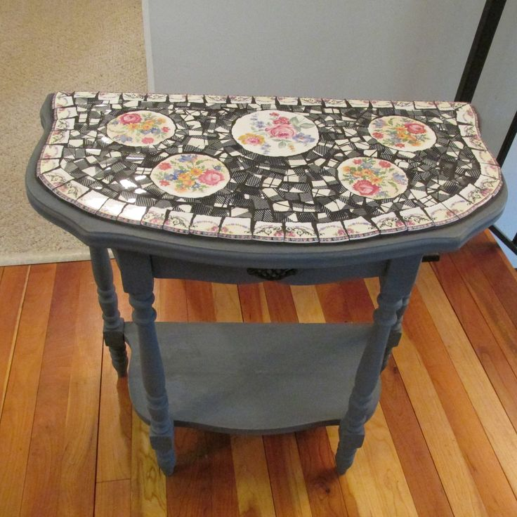 Rescued Table Painted Grey And Mosaiced With Homer (Laughlin).