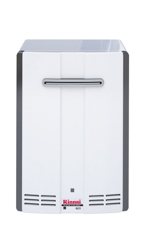 Rinnai RUS75EN 7.5 GPM Residential Outdoor Natural Gas Tankless Water Heater wit White Tankless Water Heaters Whole House Gas/Propane