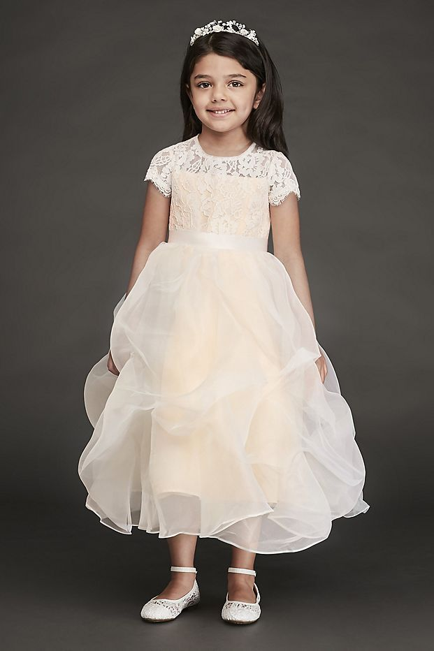 369983118e4 Lace and Organza Pick-Up Flower Girl Dress Style RK1380