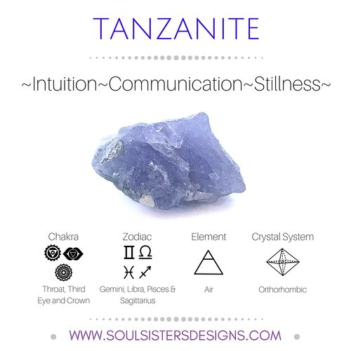Metaphysical Healing Properties of Tanzanite, including associated Chakra, Zodiac and Element, along with Crystal System/Lattice to assist you in setting up a Crystal Grid. Go to https://www.soulsistersdesigns.com to learn more!