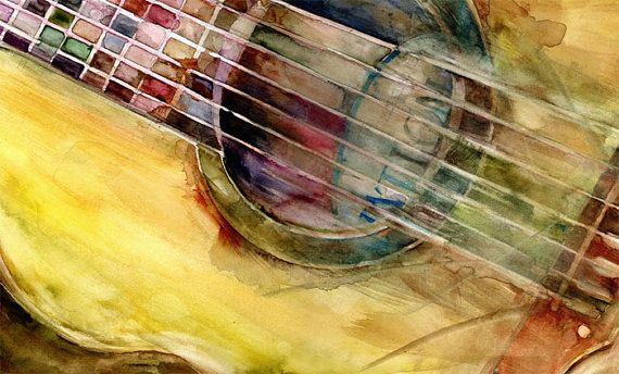 Acoustic Ovation Guitar from my Original  Watercolor Art Print  - 11 x  8.5