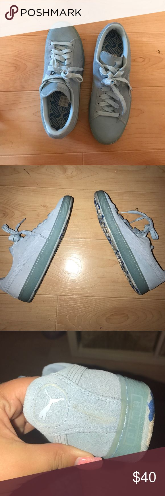 Light Blue Puma Suedes Worn a few times. Excellent condition! **** PLEASE NOTE!!! Picture shows a bit of marking, can probably be easily washed out. This is noted in price! Size 9.5 Women's and 7.5 in Men's Puma Shoes Sneakers