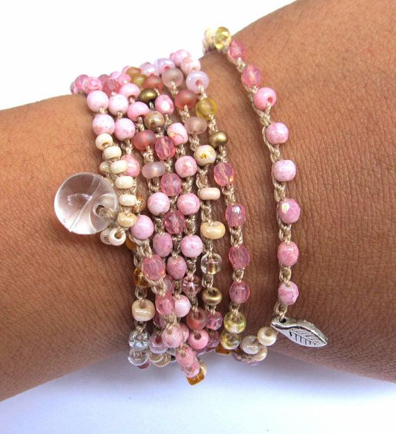 Crochet beaded wrap bracelet petals pink lariat by CoffyCrochet  SOLD
