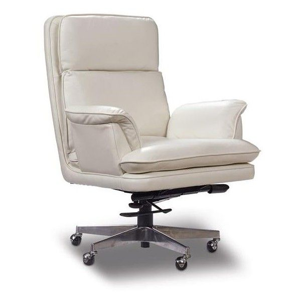 hooker furniture mileston white home office chair liked on polyvore featuring home furniture chairs office chairs white leather chair