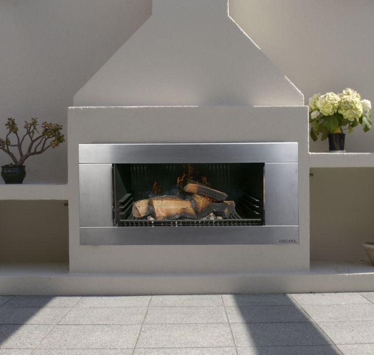 Escea EW5000 outdoor Wood fireplace.