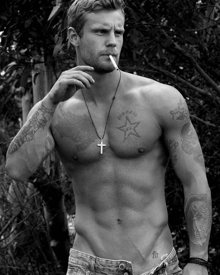 Hot men smoking cigars