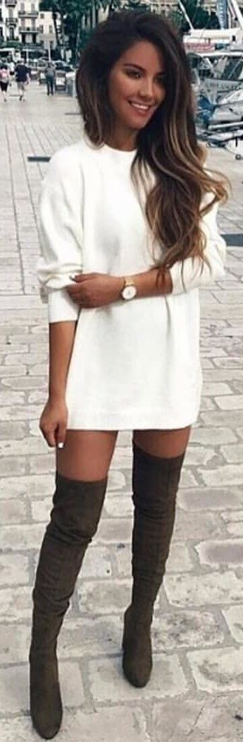 #winter #outfits white crew-neck long-sleeved mini dress with pair of black leather knee-high boots