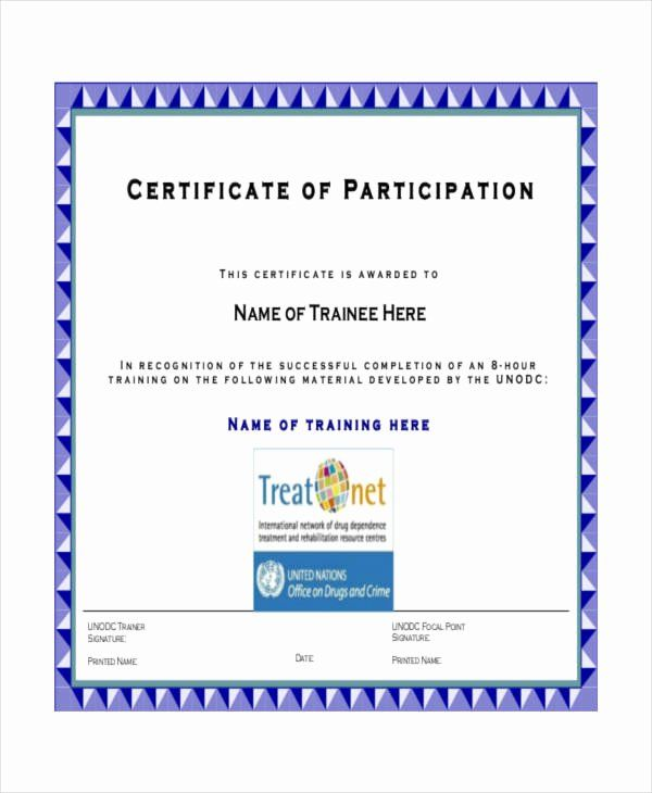 Printable Certificate Of Participation New Certificate Participation Template 7 Free Certificate Of Participation Template Word Template Certificate Templates