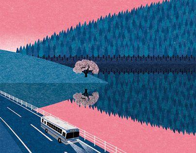 Bus and landscape illustration