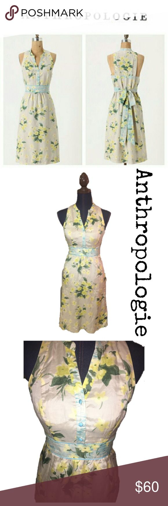 Maeve by anthropologie yellow floral dress Beautiful yellow and tan floral dress. Side zipper, ties in back. No flaws. Absolutely darling! Anthropologie Dresses Midi