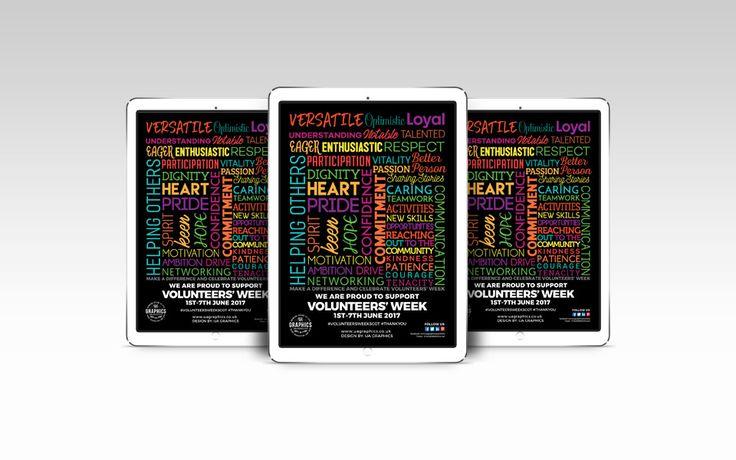 VOLUNTEERS' WEEK 2017 – Typographic design for online marketing poster for Volunteers' Week 2017 presented on iPad. #digitalmarketing #onlinemarketing  #imagepost #digitalposter #volunteersweek #volunteer #iPad